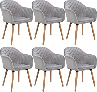 WOLTU 6 X Chaises de Salle à Manger Chaise de Cuisine Gris Clair,Chaises de Chambre Chaise de réunion en Velours et Bois M...