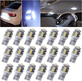 Kecko(TM)20 PCS T10 10-SMD LED Car Side Wedge Light Lamp Bulb DC 12V, W5W 147 168 194 (Pack of 20)--White Automotive Lighting Replacement
