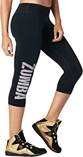 Zumba Women's Wide Waistband Print Capri Legging with Compression