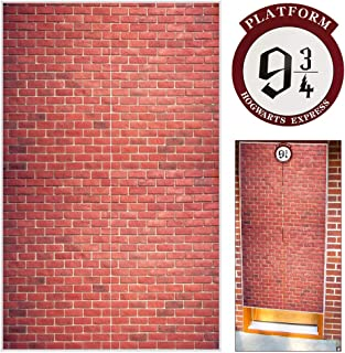 Platform 9 And 3/4 King's Cross Station Red Brick Wall Party Backdrop, Secret Passage To The Magic School Decorative,Fabric 50x79 Inch Polyester Door Curtain for Harry Potter Halloween Decor