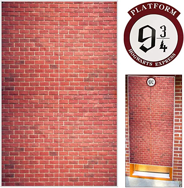 Platform 9 And 3 4 King S Cross Station Red Brick Wall Party Backdrop Secret Passage To The Magic School Decorative Fabric 50x79 Inch Polyester Door Curtain For Harry Potter Halloween Decor