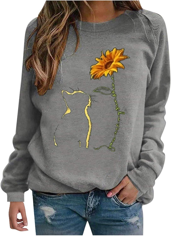FABIURT Long Sleeve Shirts for Women, Womens Fashion Cat Print Striped Sweatshirts Casual T-Shirts Pullover Blouse Tops