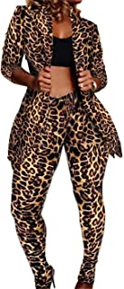 Womens Leopard Print 2 Piece Sets Open Front Jacket Pencil Long Pants Outfits Rompers Tracksuits