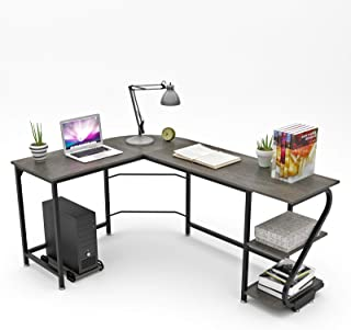 WeeHom Reversible L Shaped Computer Desk with Shelves Modern Office Computer Corner Desk Workstation Home Studying Gaming Table Wood & Metal