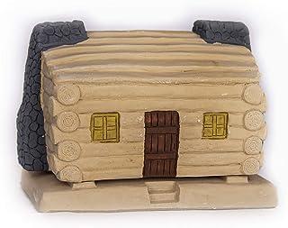 Incienso de Santa Fe - Log Cabin Natural Wood Incense Burner, Includes 20 Piñon Incense Bricks