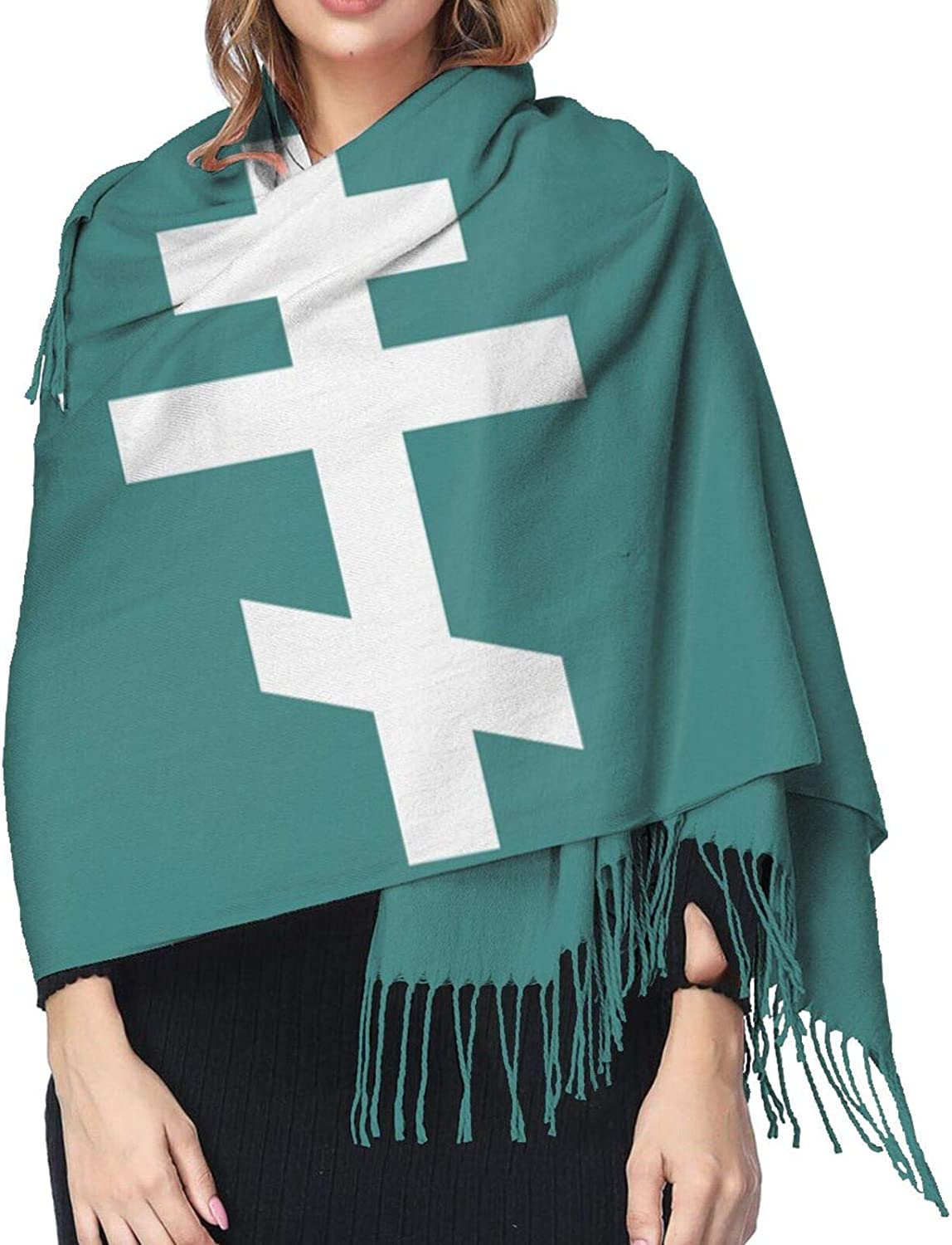 Eastern Orthodox Cross Cashmere Scarf Fashion Long Shawl with Fringed Edges Super Soft Warm Cozy Light Blanket Scarves Wrap Ultra Warm Winter Accessories Gifts For Men And Women