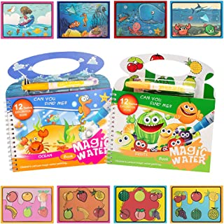 2PCS Water Painting Colouring Books for Children,Fruits and Underwater World Magical Reusable Water Painting Crafts Book w...