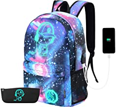 Galaxy Backpack, Anime Luminous Backpack Lightweight Laptop Backpack Fashion School Bags Daypack with USB Charging Port, P...