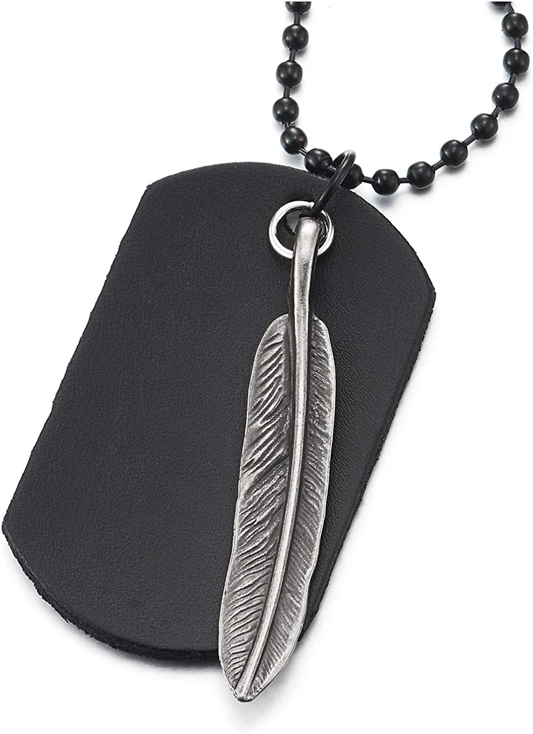 Mens Women Retro Style Metal Feather and Leather Dog Tag Pendant Necklace with 26 Inches Ball Chain