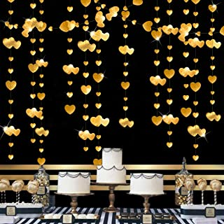 52 Ft Gold Heart Garland Kit Double Sided Metallic Paper Banner Streamer for Anniversary Mother's Day Engagement Wedding B...