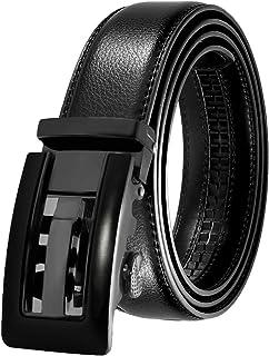 Men's Leather Belt Automatic Buckle 35mm Ratchet Dress Black Belts Boxed