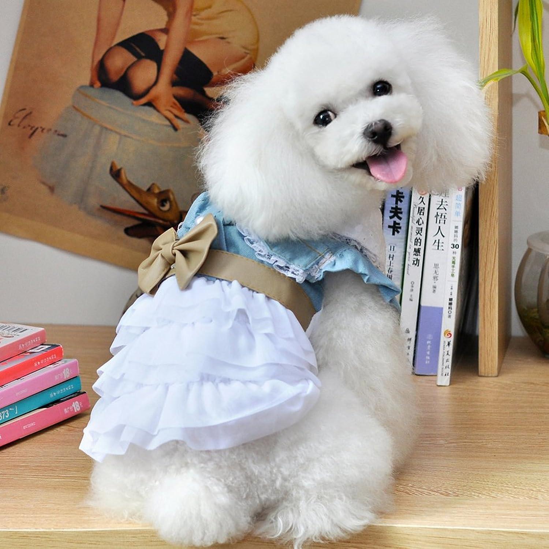 Fosinz Cute Fairy Denim Dog Dress Dog Puppy Clothes Shirt Charming Cozy Cat Pet Dress (2XL(Neck 15.7 ,Chest 20.5 ,Length 13.8 ), bluee&White)