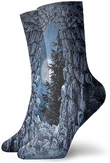 Be-ryl, Dark Cave with The Full Moon Calcetines de Estilo gótico de Novedad Calcetines Deportivos Medias de 30 cm