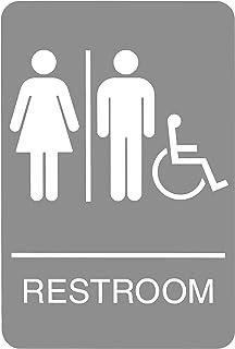 علامة هيدلاين 5222 ADA كرسي متحرك علامة مرحاض يمكن الوصول إليها مع رسم لمسية، 6 بوصة × 22 سم، رمادي فاتح/أبيض