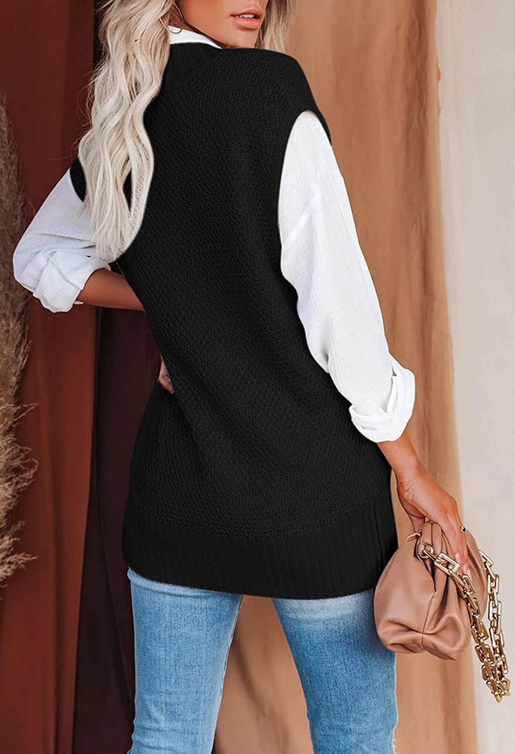 Meenew Women's V Neck Cable Knit Sweater Vest Sleeveless Loose Pullover Top