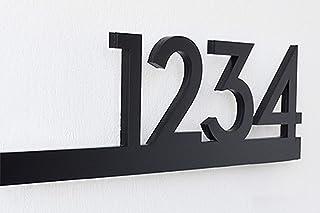Numéros de maison modernes - noir avec acrylique noir - adresse de la maison contemporaine - plaque de signe - numéro de p...