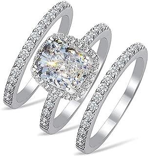 Venetia Realistic Top Grade 2.0 Carats Supreme Rectangular Emerald Cushion Cut NSCD Simulated Diamond Ring Band 3 Pcs Set 925 Silver Platinum Plated Princess Wedding