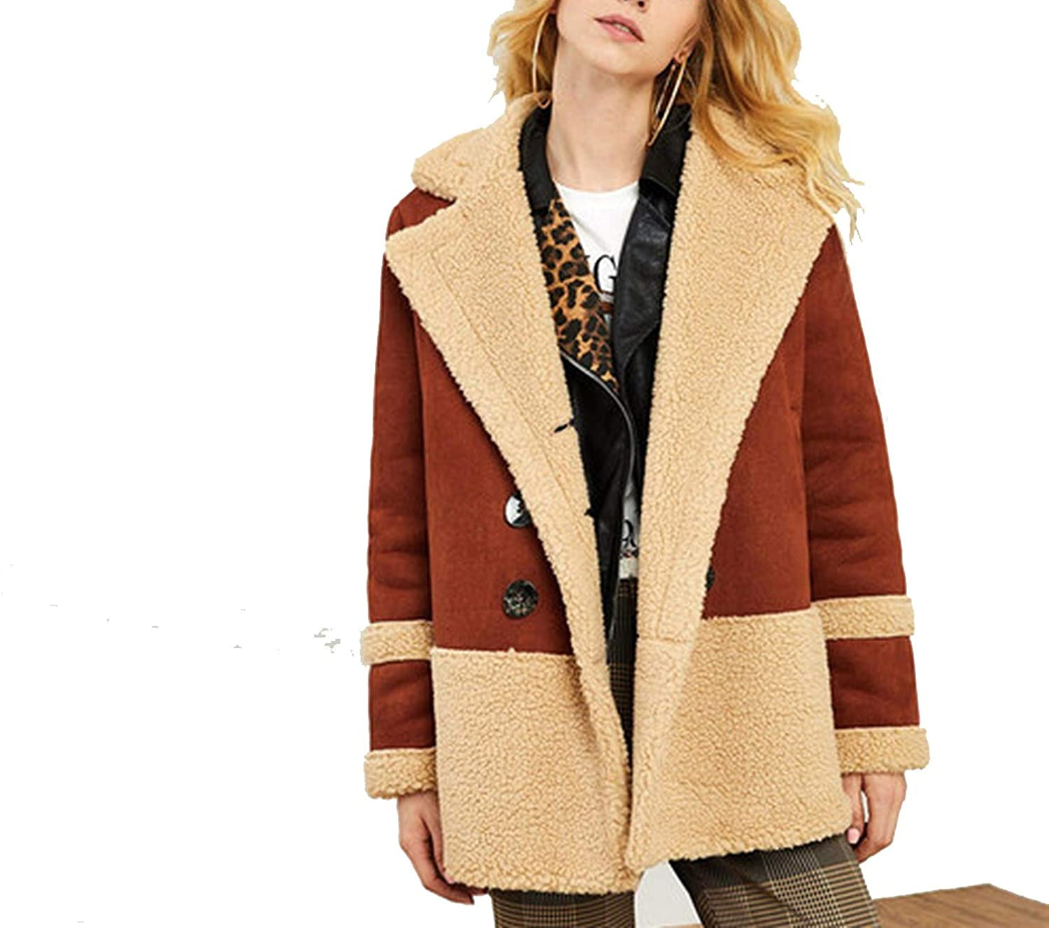 Double Breasted Faux Fur Notched Collar Winter Long Women Coats Indie Warm Straight Outerwear