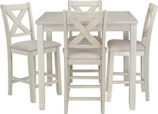 Ready To Live Sandpiper Counter Height Table and Chairs Set, White