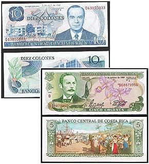 CR 1986 GEM CRISP COLORFUL1980's COSTA RICA BANKNOTE PAIR! FLAWLESS BILLS! Crisp Uncirculated
