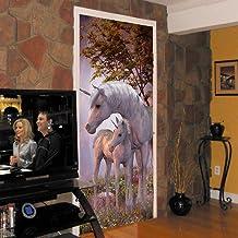 JCMTE 3D Etiqueta De La Puerta Wallpaper Unicornio En El Bosque 80X200Cm Sala De Estar Para Niños Baño Aseo Puerta Papel Tapiz Calcomanías Murales Vinilo Decoración Para El Hogar