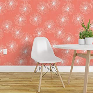 Spoonflower Peel and Stick Removable Wallpaper, Mid Century Modern Coral Large Scale Floral Dandelion Print, Self-Adhesive Wallpaper 12in x 24in Test Swatch