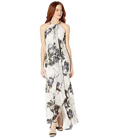 Calvin Klein Floral Print Gown w/ Embellished Halter Neck (Blossom Multi) Women