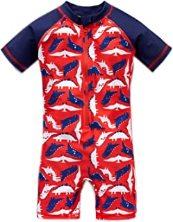 Baby Girl and Boy Swimsuit One Piece Short Long Sleeve Rash Guard Ruffle Swimwear(12M-8T)