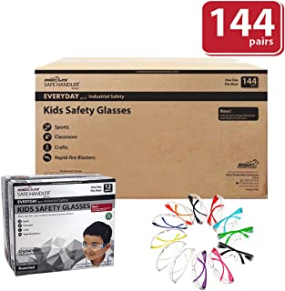 BISON LIFE Kids Protective Safety Glasses   Impact and Ballistic Resistant Lens, Clear Polycarbonate Lens Color Temple, Child Youth Size, 12 Color VARIETY, Case of 12 BOXES, 144 PAIRS