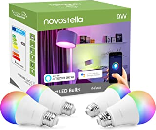 Novostella Smart Light Bulbs, WiFi LED Color Changing Lights Dimmable E26 9W Bulb, RGBW 900LM, Soft White (2700K), Compatible with Alexa, Google Home and IFTTT, No Hub Required (A19, 4 Pack)