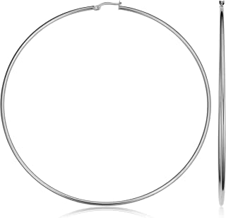 KoolJewelry 14k White Gold Hoop Earrings (20 mm, 25 mm, 30 mm, 35 mm, 45 mm, 70 mm or 90 mm)