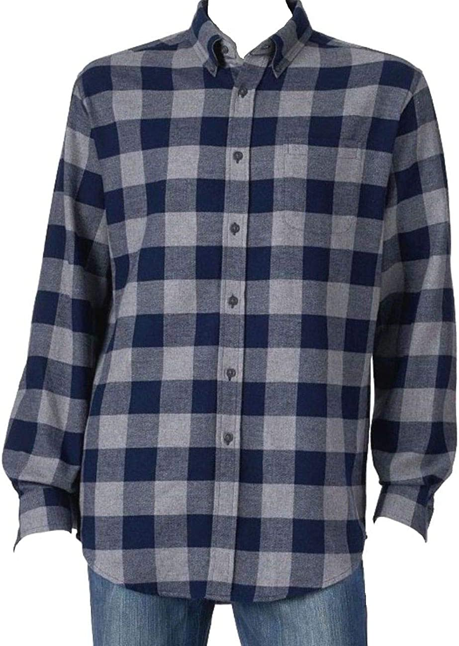 Croft & Barrow Mens Big & Tall Classic Fit Flannel Shirt Grey Navy Buffalo Plaid