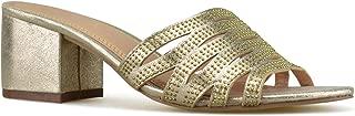 Women's Low Slip On Sandal Slide - Comfortable Everyday Block Heel - Trendy Slipper Shoe