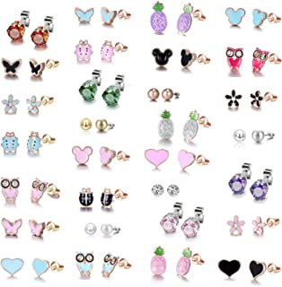 Rose Gold Plated Stainless Steel Mixed Color Cute Pineapple Mouse Heart Shape Love Owl Ladybug Stud Earrings Set