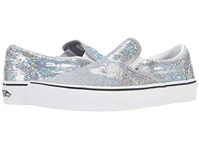 Vans Classic Slip-Ontm ((Micro Sequins) Silver/True White) Skate Shoes