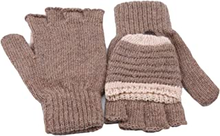 LALANG Winter Knitted Warm Flip Half-finger Gloves Men Women Thick Student Mittens