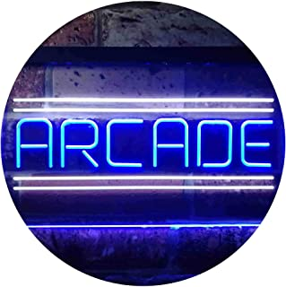 Arcade Game Zone Room Dual Color LED Neon Sign White & Blue 600 x 400mm st6s64-i3368-wb