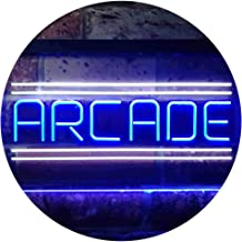 Arcade Game Zone Room Dual Color LED Neon Sign White & Blue 300 x 210mm st6s32-i3368-wb