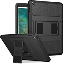 MoKo Case Fit 2018/2017 iPad 9.7 6th/5th Generation - [Heavy Duty] Shockproof Full Body Rugged Hybrid Cover with Built-in Screen Protector Compatible with Apple iPad 9.7 Inch 2018/2017, Black