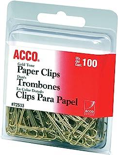 کلیپ های کاغذی برندهای ACCO ، معمولی ، # 2 اندازه ، صاف ، طلا ، 100 کلیپ / جعبه (72533)