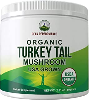 USDA Organic Turkey Tail Mushroom Powder (USA Grown) by Peak Performance. Vegan Mushrooms Blend Extract Powders. Polypheno...