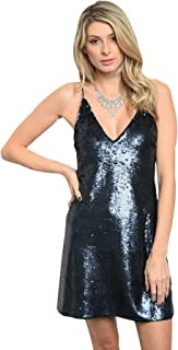 Imaginary Diva Women's Sexy Navy Blue Sequins Strappy Open Back Party Cocktail Evening Dress
