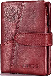 Mens Leather Bag Fashionable European and American Version of Short Zipper Buckle Small Purse Lady Coins Wholesale Bag (Color : Red)