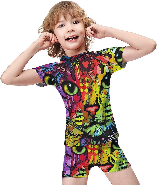 Yiaoflying Kids Boys 2 Piece Swimwear Set - Colorful CatRash Guard Swimsuit Trunks