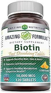 Amazing Formulas Biotin Fast Dissolving Tablets-10000 MCG Tablets(Non-GMO,Gluten Free)-Supports HealthyHair,Skin & Nails-P...