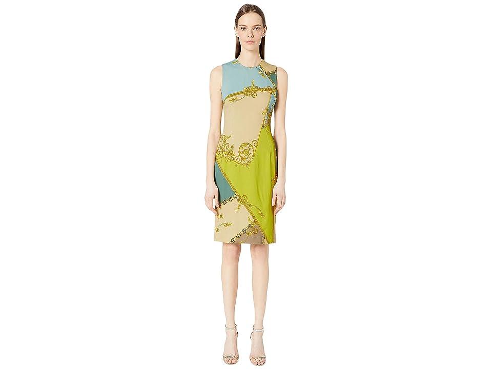Versace Collection Pastel Eyeshadow Print Sheath Dress (Lime Print) Women