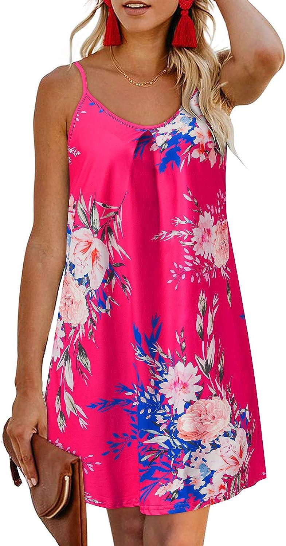 ULTRANICE Women's Sleeveless Summer Casual Swing Beach Dresses Spaghetti Straps Floral Backless Mini Dress