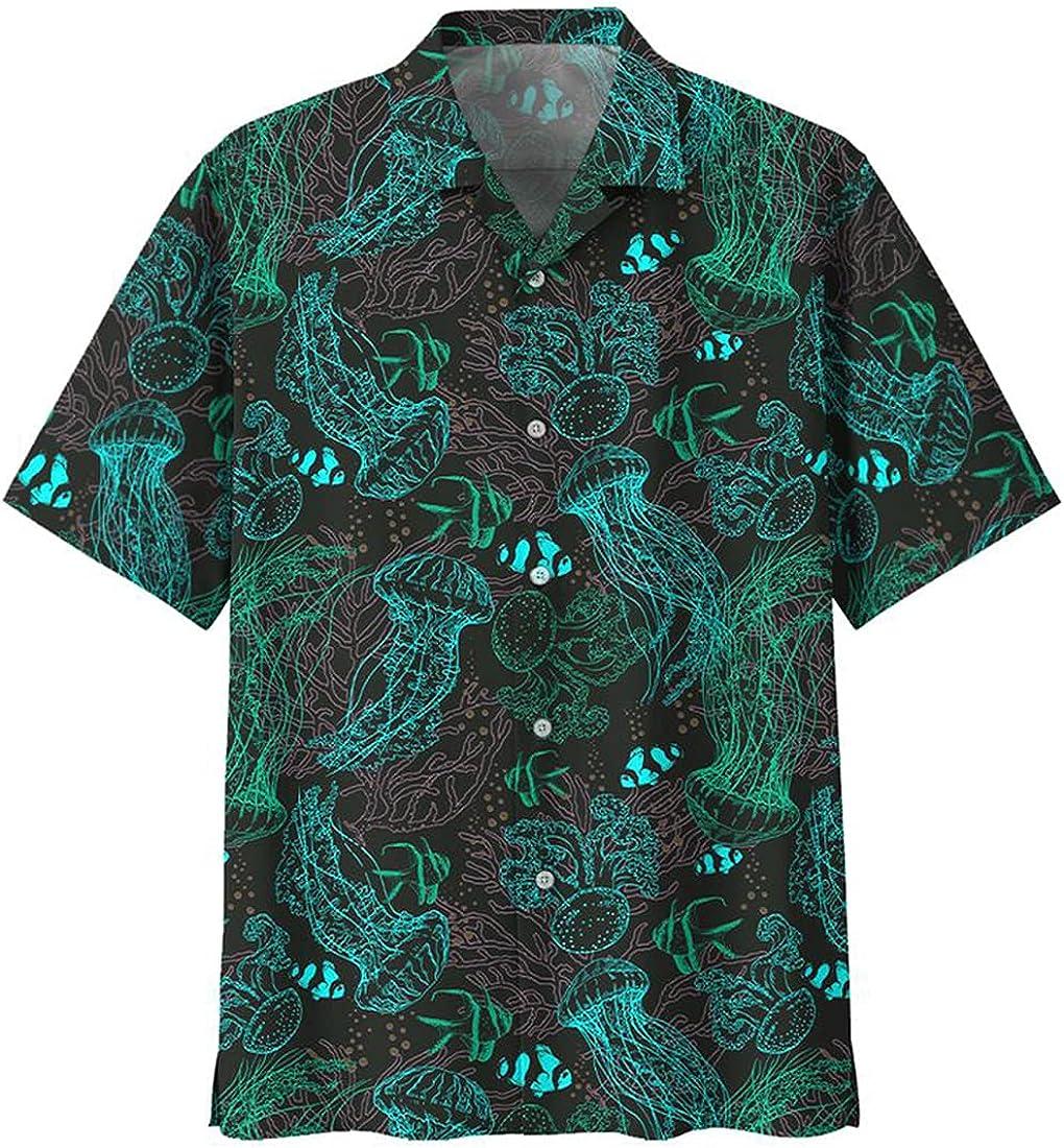 Jellyfish Hawaiian Shirts for Men - Ocean Button Down Mens Hawaiian Shirts Short Sleeve Series 21