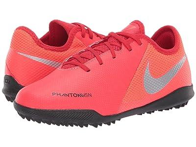 Nike Kids Phantom Vision Academy TF Soccer (Little Kid/Big Kid) (Bright Crimson/Metallic Silver) Kids Shoes