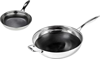 Frieling USA Black Cube Hybrid Stainless/Nonstick Cookware Fry Pan, 8-Inch and Wok 12.5-Inch Set